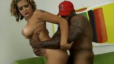Black ass ebony hottie Alana Lee receives a black cock from behind