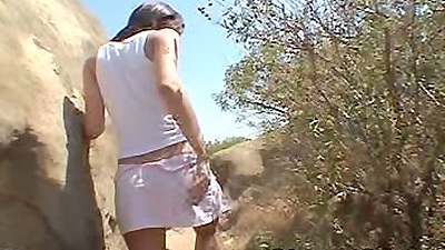 outdoors with 18 year old Chloe18 wearing a miniskirt and fingering self
