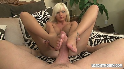 Footjob with sexy feet for big dick Rikki Six