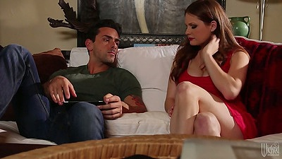 Redhead fully clothed Allison Moore having a diner party all nice